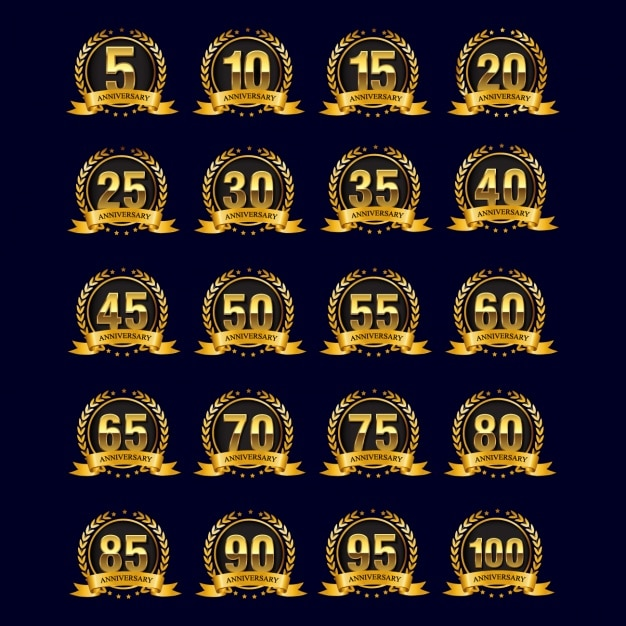 Gouden jubileum badges Gratis Vector
