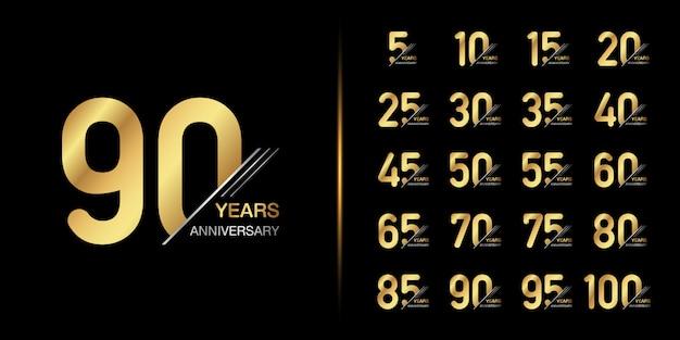 Gouden jubileum embleem ontwerp. Premium Vector