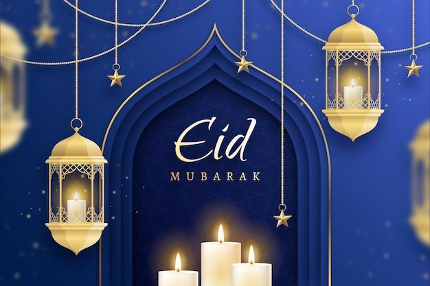 Gouden kaarsen plat ontwerp eid mubarak Gratis Vector
