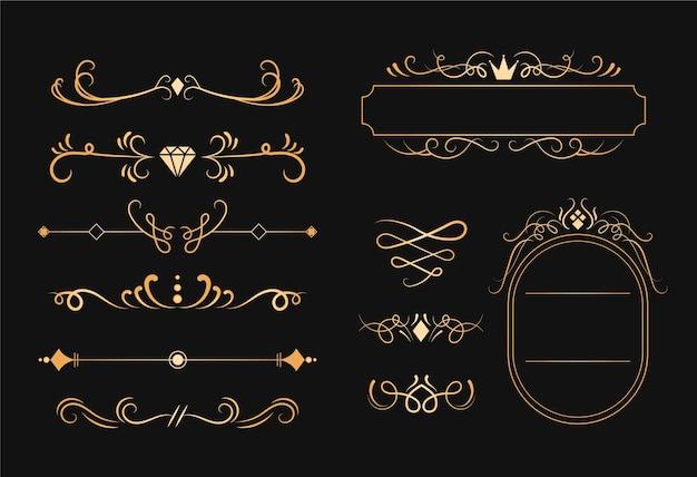 Gouden kalligrafische sieraad set Gratis Vector