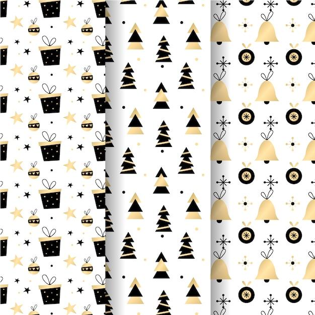 Gouden kerst patroon collectie Gratis Vector