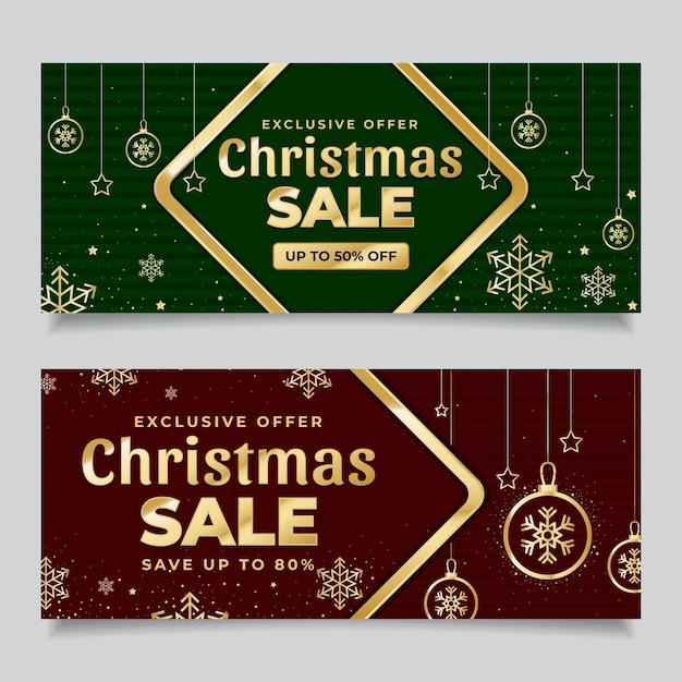 Gouden kerst verkoop banners met korting Gratis Vector