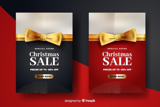 Gouden kerst verkoop banners sjabloon Gratis Vector