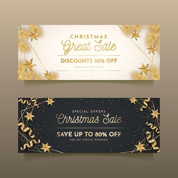 Gouden kerst verkoop banners Gratis Vector