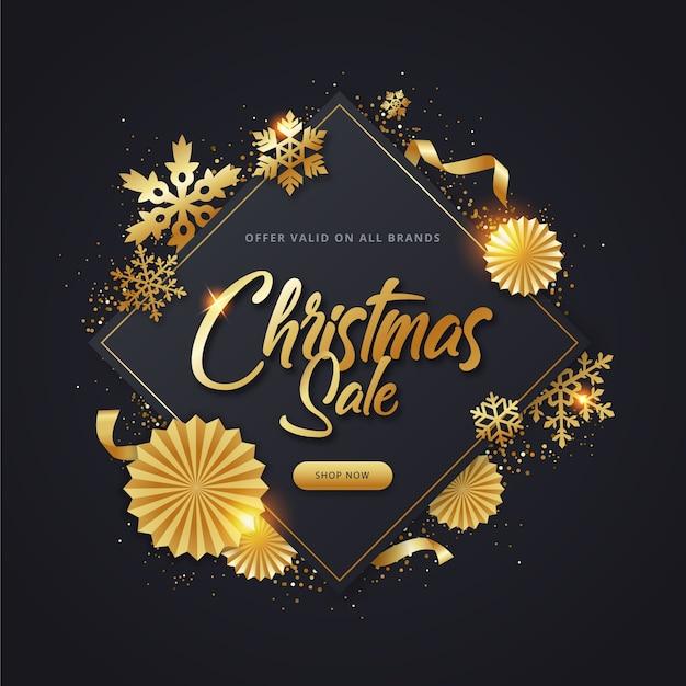 Gouden kerst verkoop concept Gratis Vector