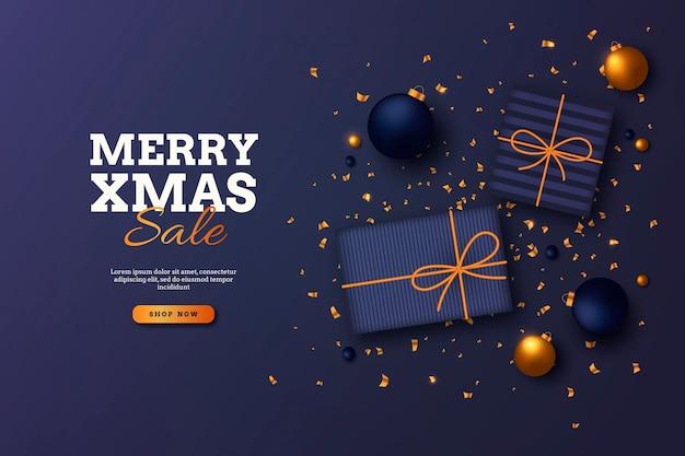 Gouden kerst verkoop sjabloon Gratis Vector