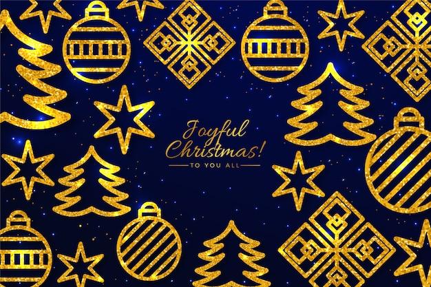 Gouden kerstboom decoraties achtergrond Gratis Vector