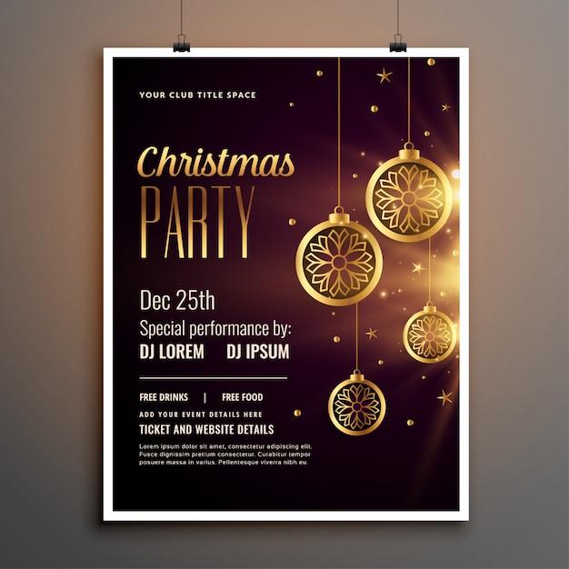 Gouden kerstfeest partij sjabloon folder Gratis Vector