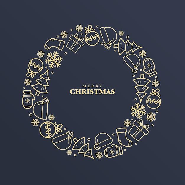 Gouden kerstkrans concept Gratis Vector