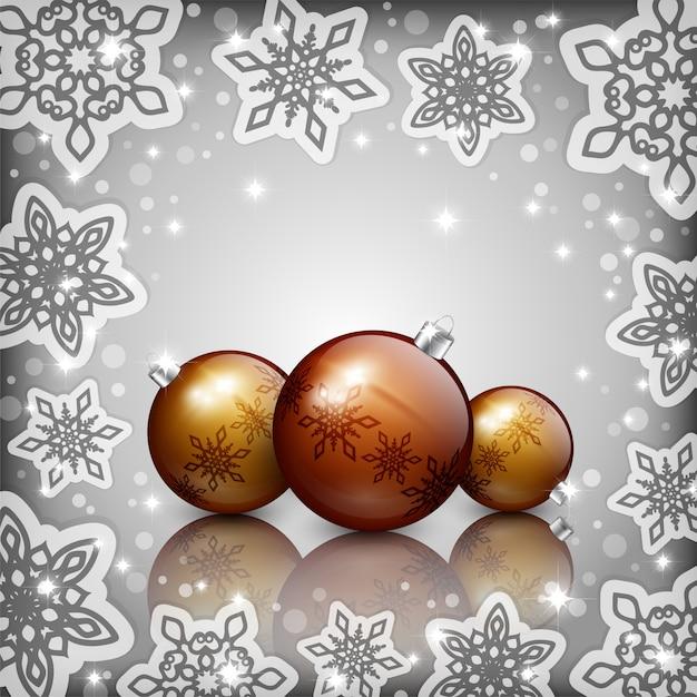 Gouden kerstmissnuisterijen op grijze achtergrond Premium Vector
