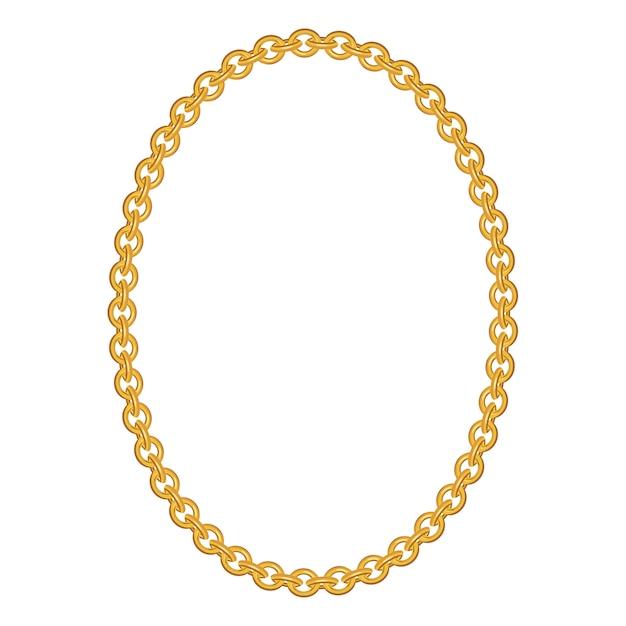 Gouden ketting sieraden geïsoleerd Premium Vector