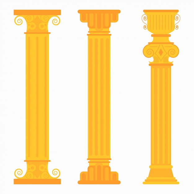 Gouden klassieke kolommen voor bruiloften Premium Vector