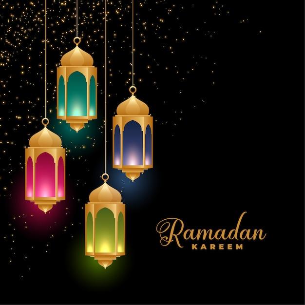 Gouden kleurrijke islamitische lantaarns ramadan kareem achtergrond Gratis Vector