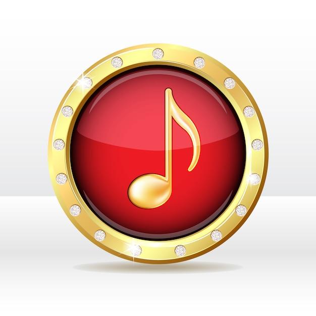 Gouden knoop met muzieknootteken. muziek icoon. Premium Vector