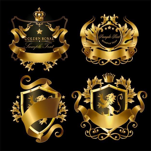 Gouden koninklijke stickers met kronen, schilden, linten, leeuwen, sterren. Premium Vector