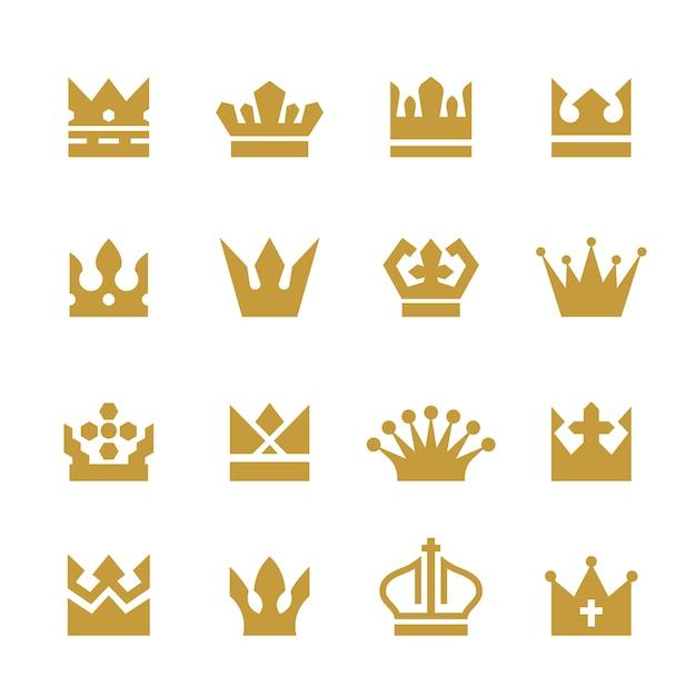 Gouden kronen collectie Gratis Vector