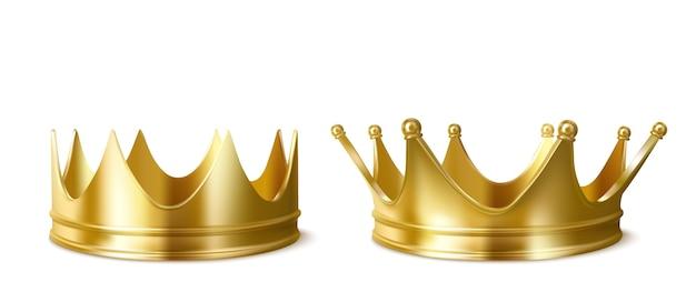 Gouden kronen voor koning of koningin, hoofdtooi voor monarch. Gratis Vector