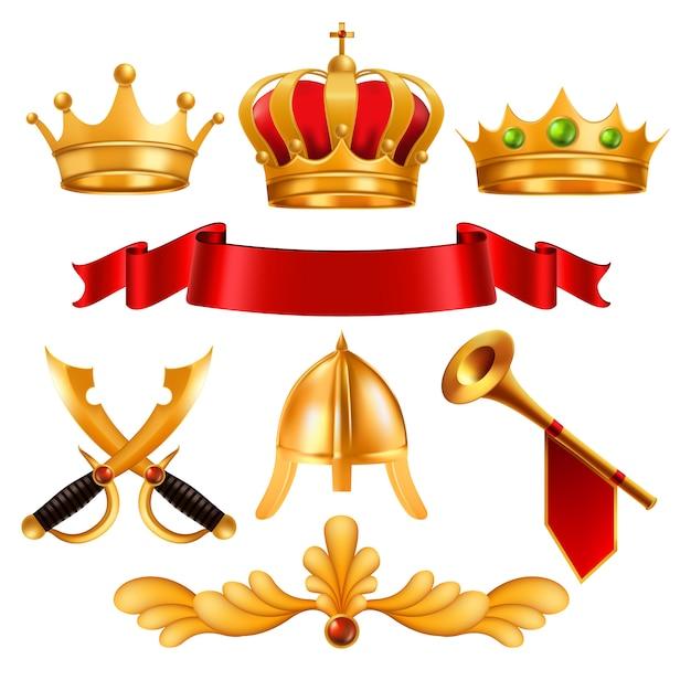 Gouden kroon en elementen Premium Vector
