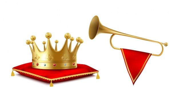 Gouden kroon en koperen fanfare set geïsoleerd op een witte achtergrond. Gratis Vector