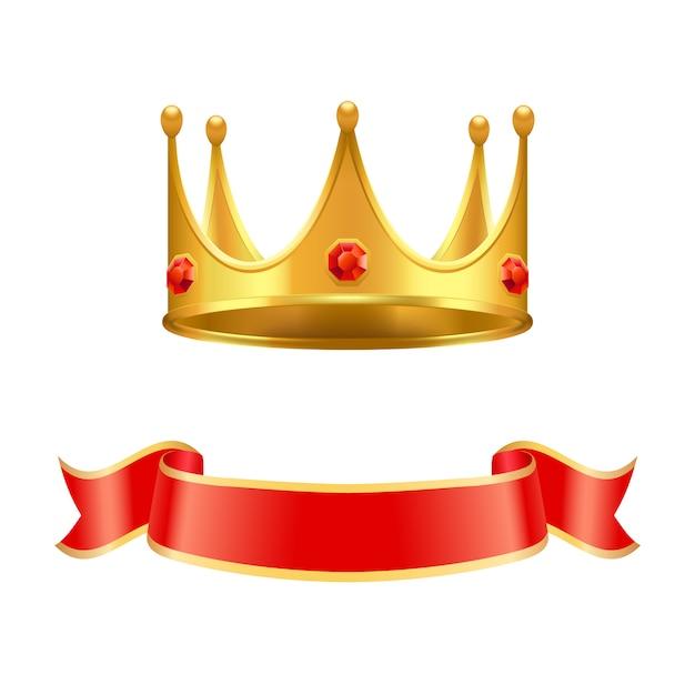 Gouden kroon met robijnrode edelsteen en zijden krullenlint Premium Vector