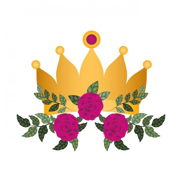 Gouden kroon met rozen geïsoleerde pictogram Premium Vector