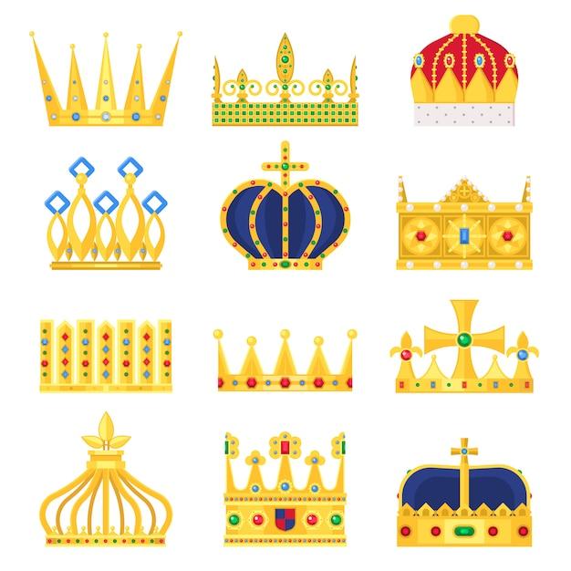 Gouden kroon van de koning ingesteld Premium Vector