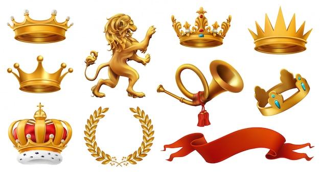 Gouden kroon van de koning. lauwerkrans, trompet, leeuw, lint. Premium Vector