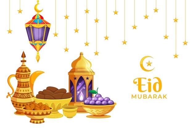 Gouden kruik en kom plat ontwerp eid mubarak Gratis Vector