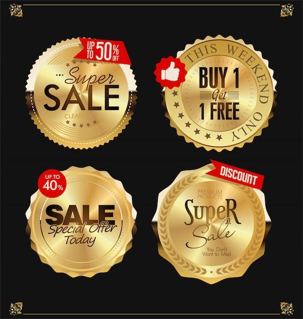 Gouden labels Premium Vector