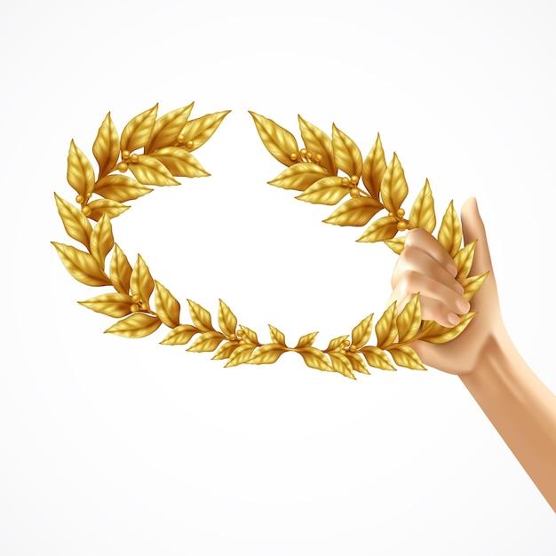 Gouden lauwerkrans in het menselijke geïsoleerde concept van het hand realistische ontwerp Gratis Vector