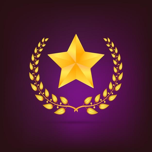 Gouden lauwerkrans met ster. gedetailleerd op gekleurde achtergrond. Premium Vector