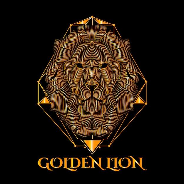 Gouden leeuw vector kunst Premium Vector