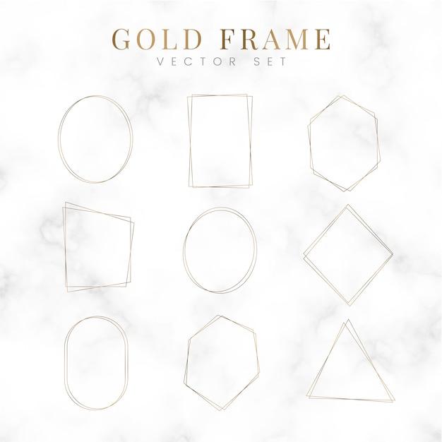 Gouden lege frame vector set Gratis Vector