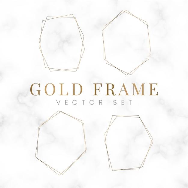 Gouden lege zeshoek frame vector set Gratis Vector