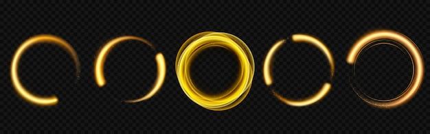 Gouden lichte cirkels met glitters Gratis Vector