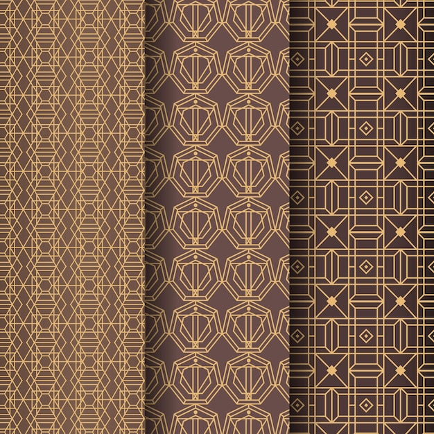 Gouden lijnen art deco patroon sjabloon Premium Vector