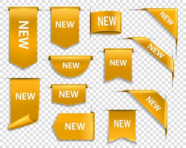 Gouden linten, banners en labels, nieuwe tag Premium Vector