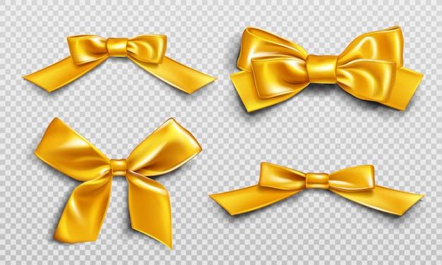 Gouden linten en strikken voor het inpakken van huidige boxset Gratis Vector