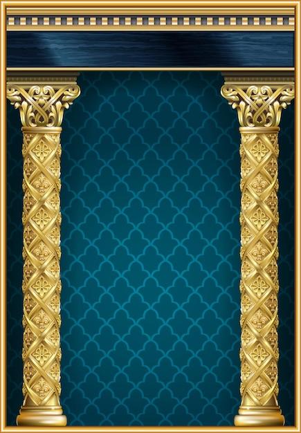Gouden luxe klassieke boog met kolommen. het portaal in barokstijl. Premium Vector