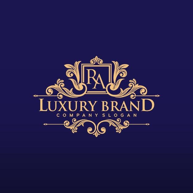 Gouden luxe logo ontwerp vectorillustratie Premium Vector