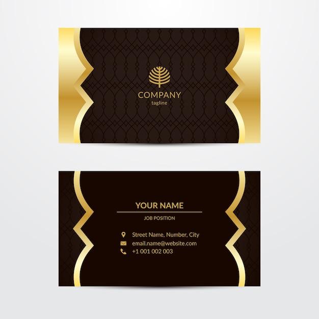 Gouden luxe visitekaartjesjabloon Gratis Vector