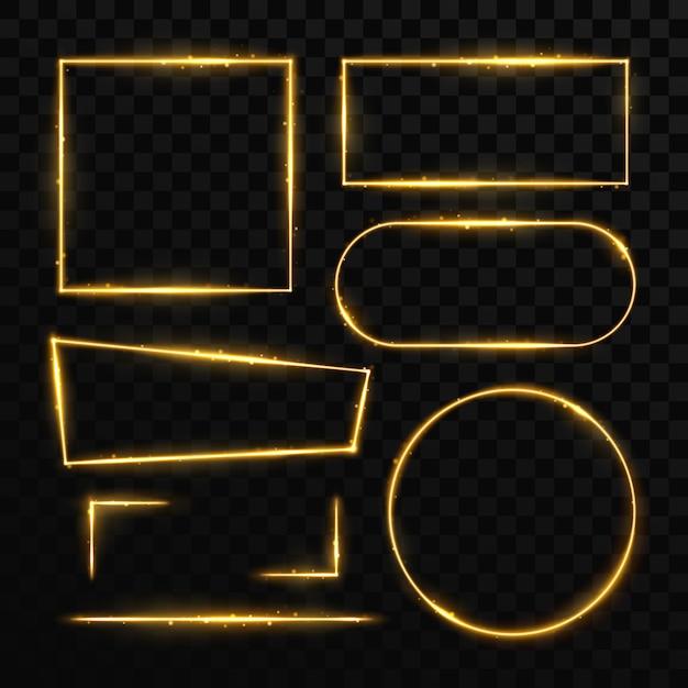 Gouden magische licht frames en elementen geïsoleerd op zwart. Premium Vector