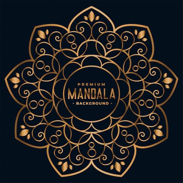 Gouden mandala bloemendecoratie Gratis Vector