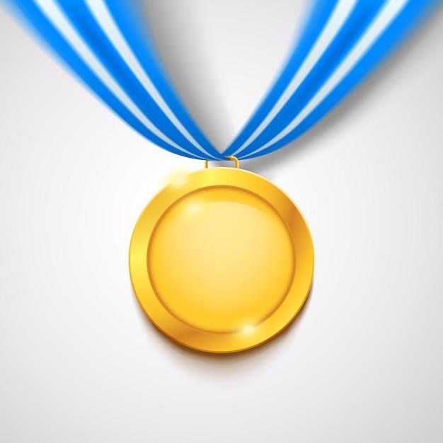 Gouden medaille met lint Premium Vector