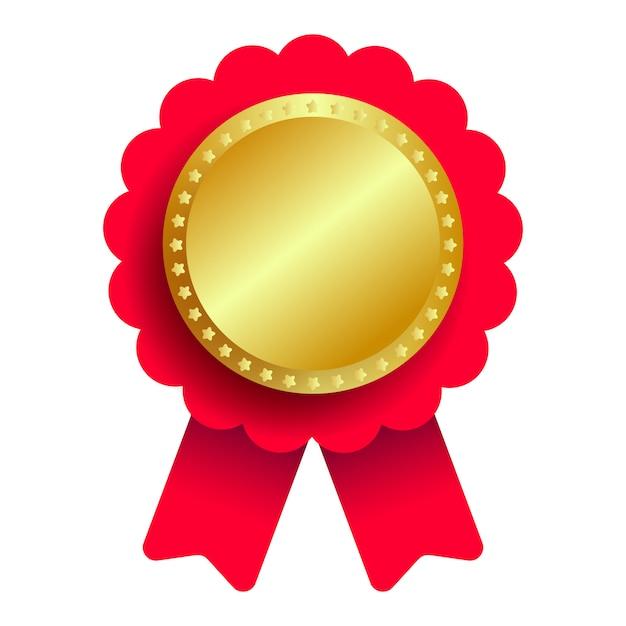 Gouden medaille met rood lint Premium Vector