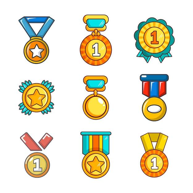 Gouden medaille pictogramserie. beeldverhaalreeks van de gouden geïsoleerde inzameling van medaille vectorpictogrammen Premium Vector