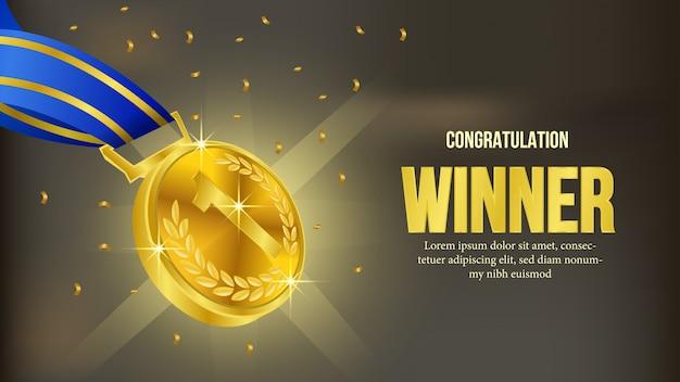 Gouden medaille winnaar aankondiging banner Premium Vector