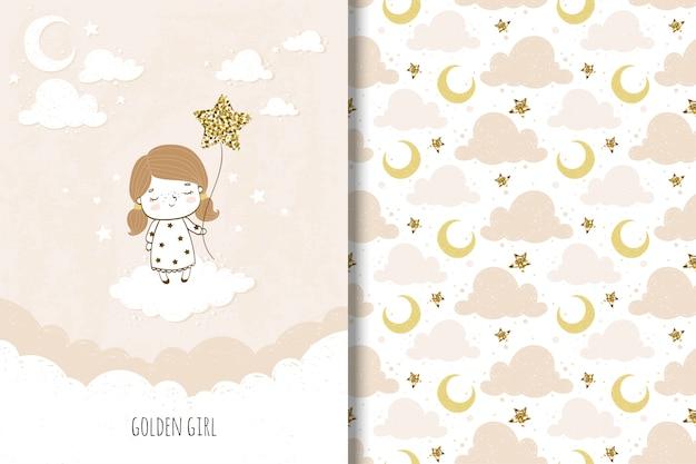 Gouden meisjeskaart en naadloos patroon voor kinderen Premium Vector