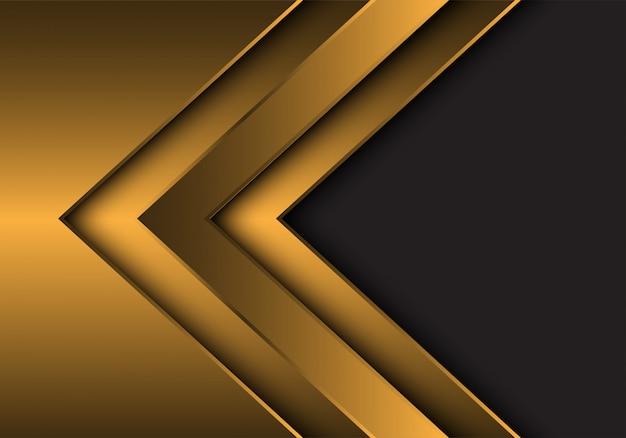 Gouden metalen pijlrichting met grijze lege ruimteachtergrond. Premium Vector