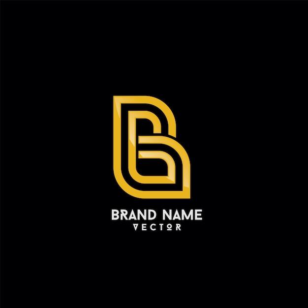 Gouden monogram b symbool logo sjabloon vector Premium Vector